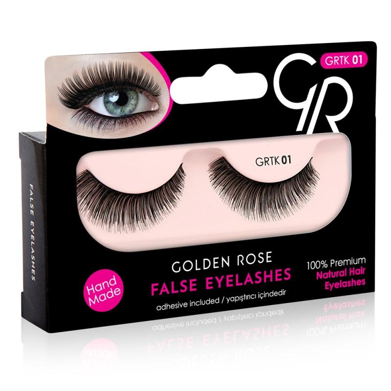 Golden Rose False Eyelashes (με φυσική τρίχα) #01